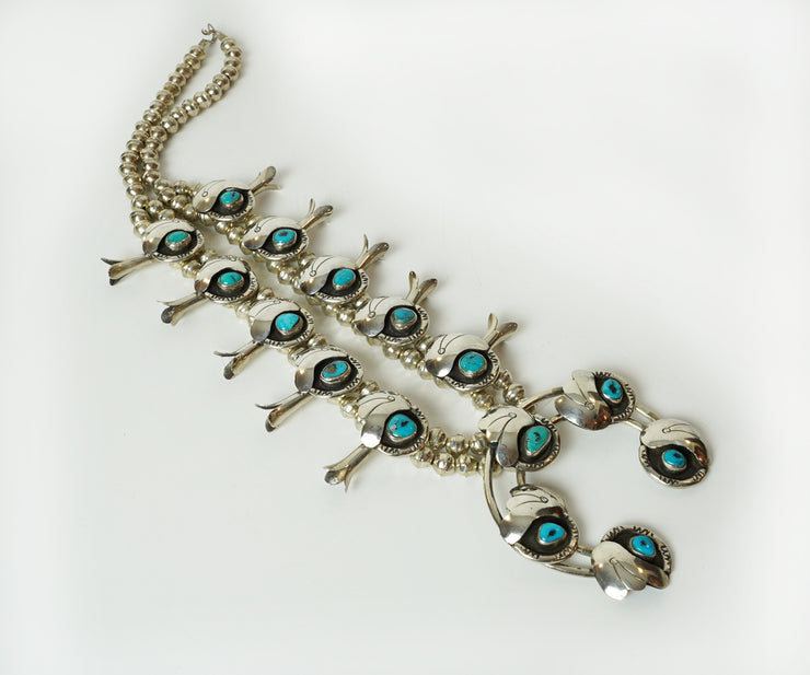 Native American turquoise and silver sterling necklace