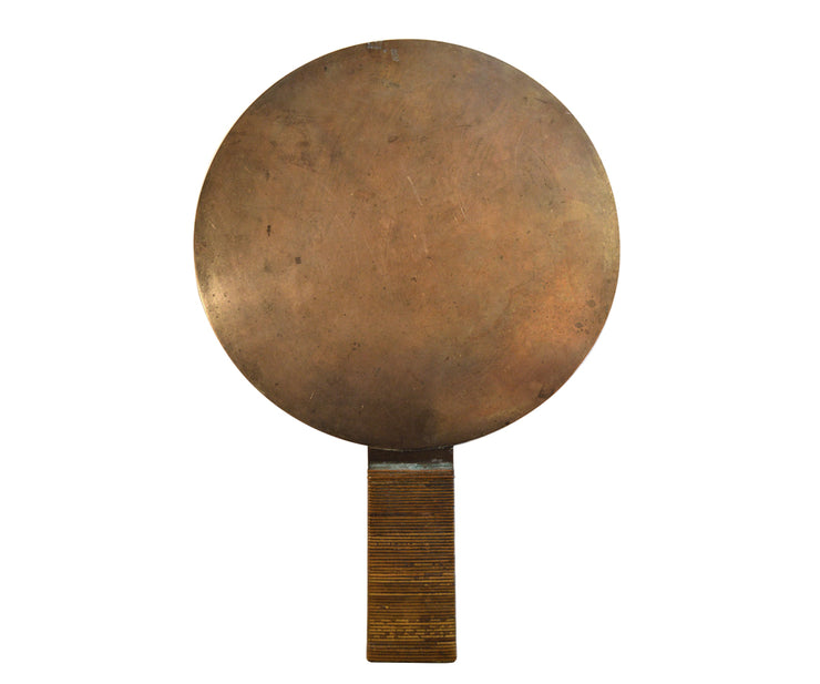 old Japanese bronze large hand mirror