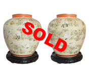 Pair of Antique Japanese Satsuma Jars with Stands
