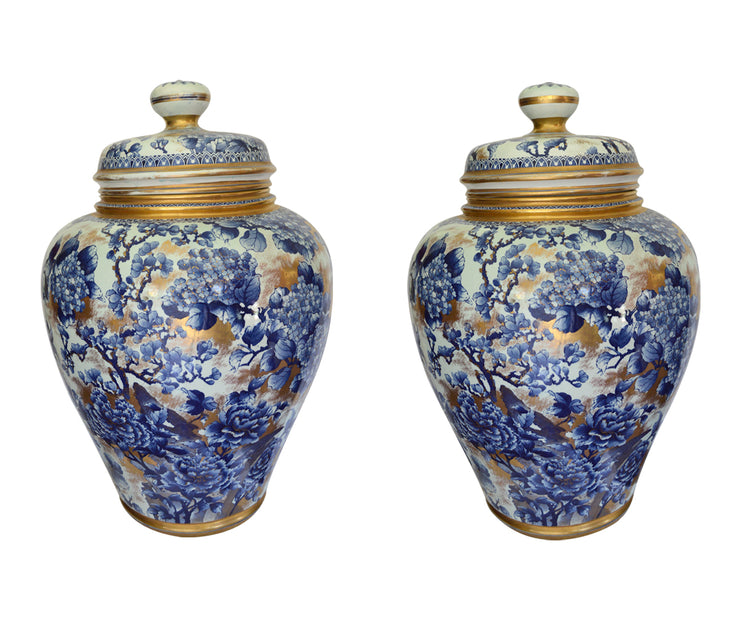 Pair of Large Antique Hand-Painted Baluster Jars by Franz Anton Mehlem