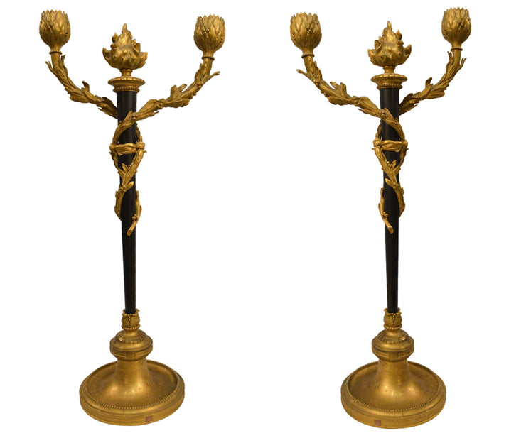 Pair of Antique 19th Century Neoclassic Gilt Bronze Two Arm Candle Holder