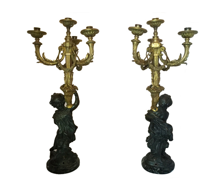 Antique 19th Century Bronze Partially Candelabra