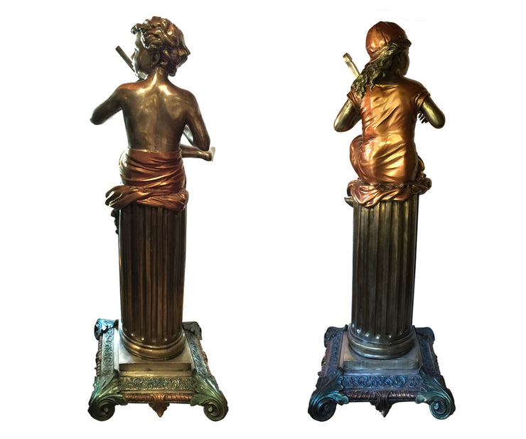 Two Delightful Large Signed Silvered Bronze Sculptures