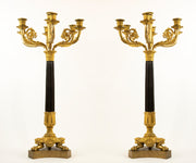 Pair of Antique Seven Arm Empire Style French Gilt Bronze Candelabras