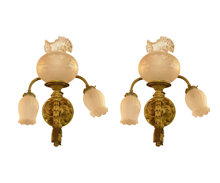 Pair of 19th Century French Gilt Bronze Three-Light Wall Sconces