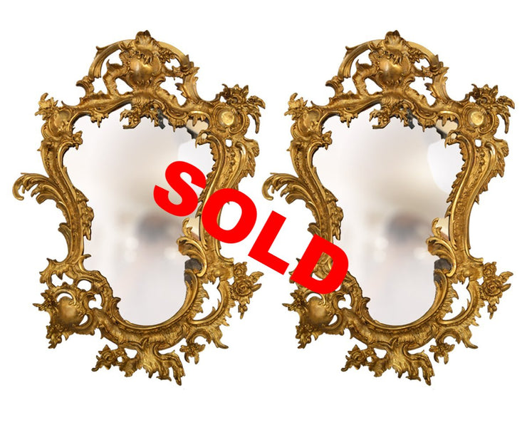 Antique, 19th Century, Pair of Bronze Gilt Louis XV Style Mirrors