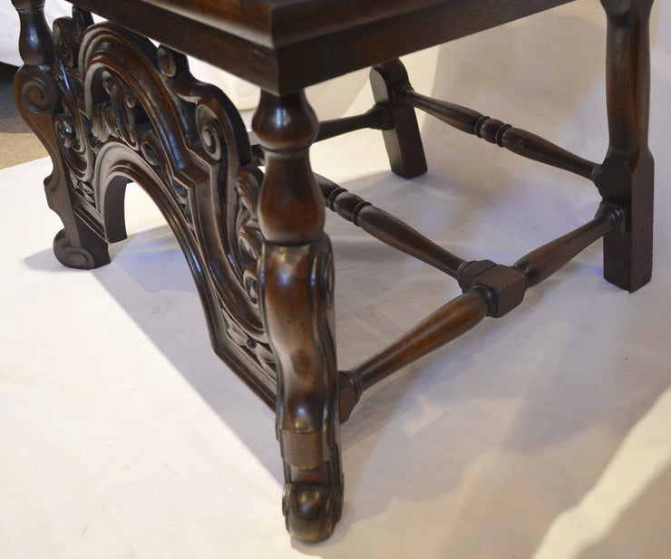 Pair of French Antique, 19th Century Hand-Carved Walnut High Back Chairs