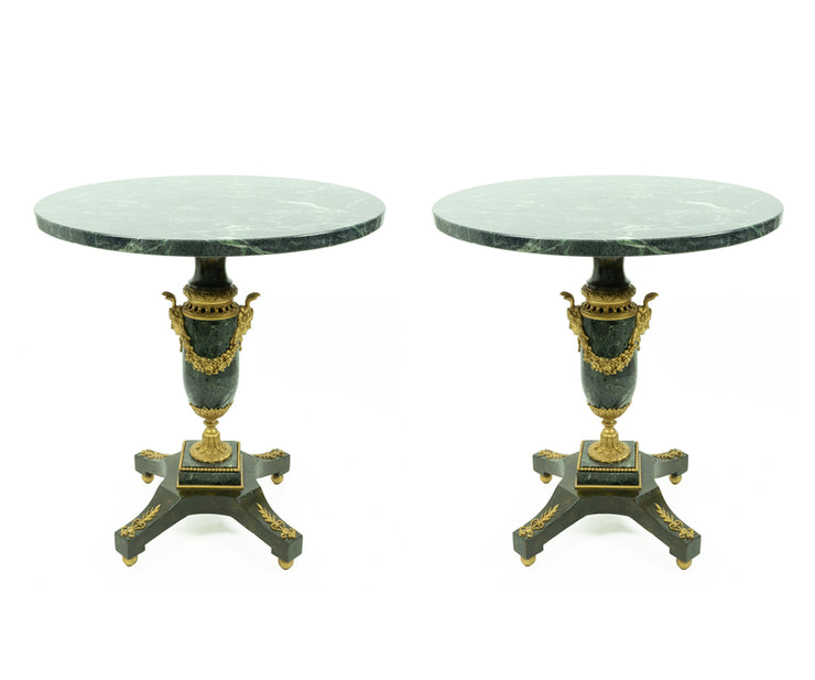 Pair of Antique French Green Marble Round Side Tables with Ormolu Decorations