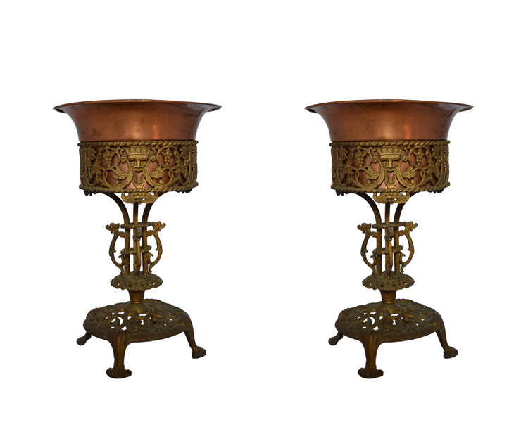 pair of Oscar bach bronze and wrought iron planter
