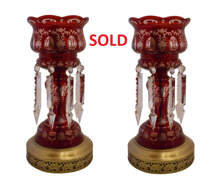 Pair of Antique Bohemian Ruby Colored Crystal Converted Light