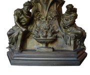 Large Bronze Antique Fireplace Andirons