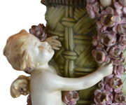 Large Antique Amphora Vase with Cherubs or Putti and Flowers