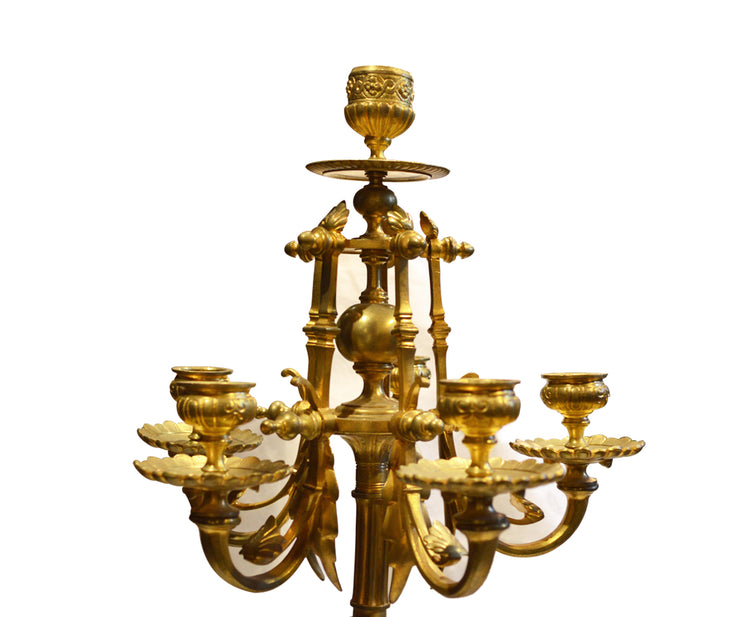 Antique French Gilt Bronze Candelabra Mounted on Rouge Marble
