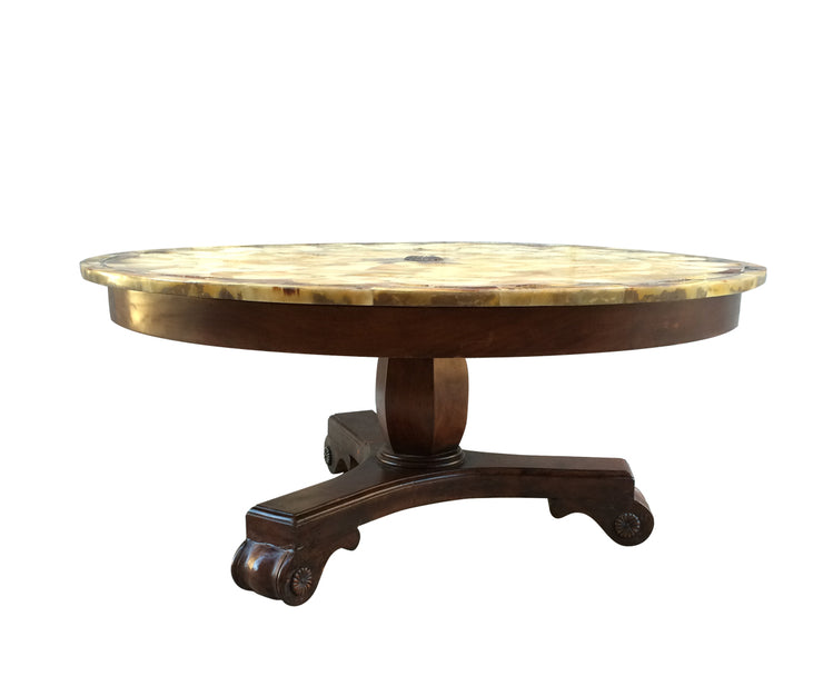 Deer antler inlaid round coffee table