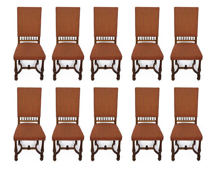 Antique French Hand Carved Walnut Set of Ten Chairs