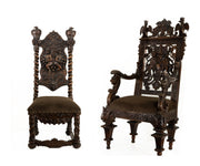 Antique 19th Century Royal Castle Pair of Hand Carved Italian Throne Chairs