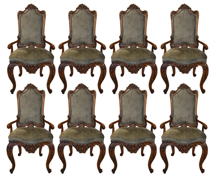 Set of Eight French Midcentury Louis XV Style Armchairs