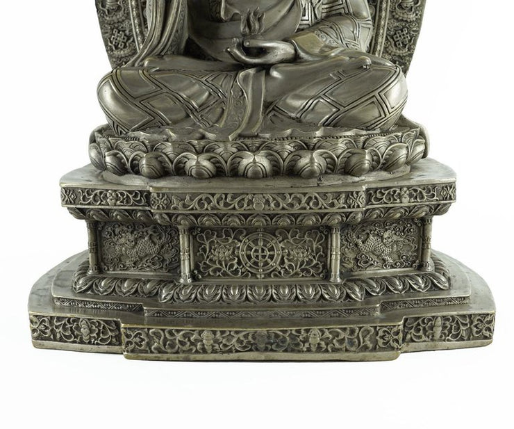 Chinese Silver over Bronze Seated Medicine Buddha with Halo