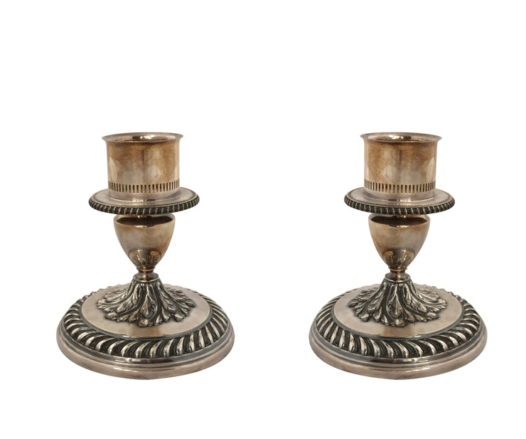 Pair of old silver plated candle stick