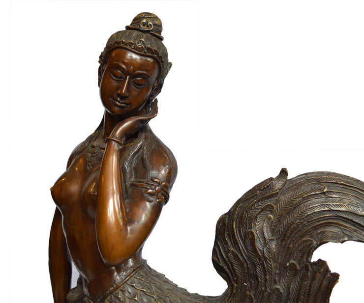 Chinese Bronze Sculpture of a Mythical Figure with a Nude Female Torso and Wings