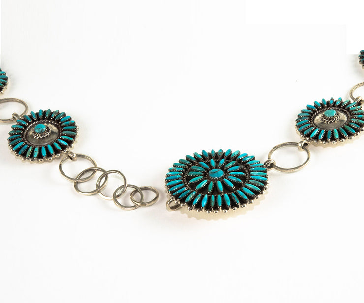 Native American Sterling Silver and Turquoise Conch Belt