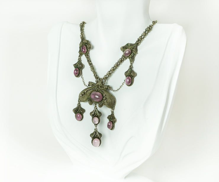 silver and pink tourmaline cabochon necklace