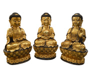 Set of Three Large Chinese Ming Style Gold Gilt Bronze Seated Buddha's