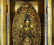 Tall Antique 19th Century Japanese Traveling Shrine with Quan Yin