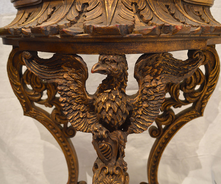 Antique Three-Legged Continental Pedestal Featuring an Eagle Holding a Shield