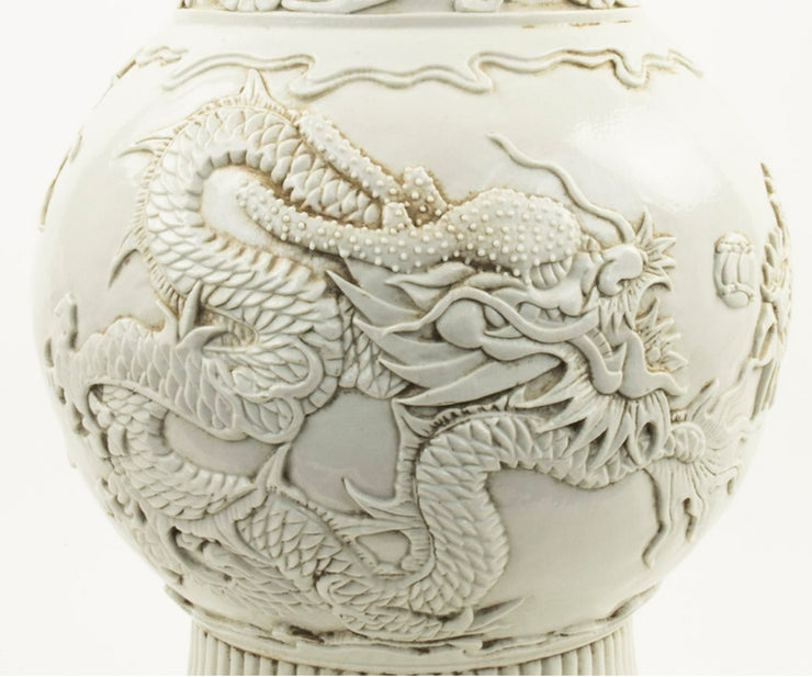 Large Chinese Blanc De Chine Porcelain Vase with Dragon Features