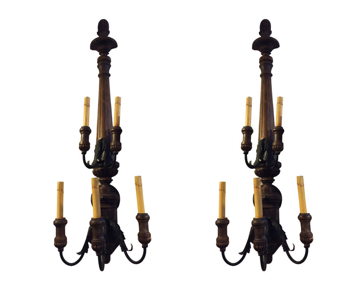 Pair of large wood sconces