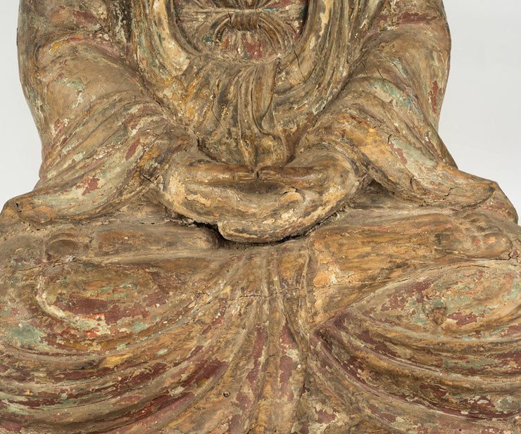 Large Antique Chinese Ming Dynasty Hand- Carved Wood Quan Yin