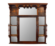Antique Rosewood and Inlaid Over mantel Mirror
