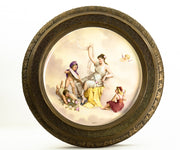 19th Century French Gilded Louis XVI Style Side Table with Porcelain Plate