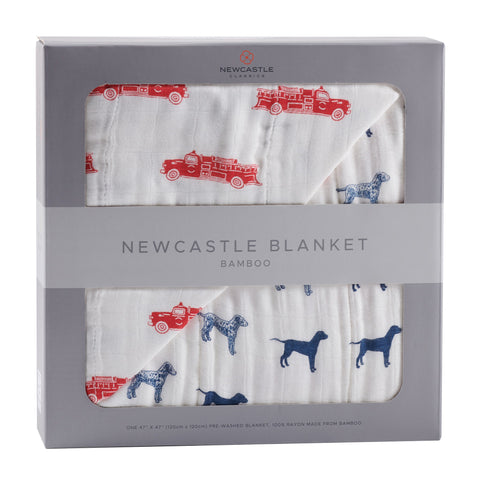 Fire Truck and Dalmatian Bamboo Muslin Newcastle Blanket