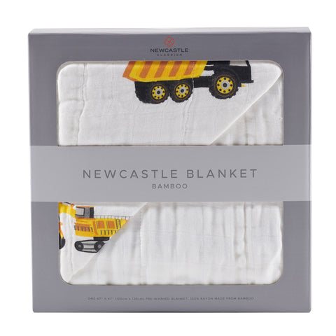 Yellow Digger and White Bamboo Muslin Newcastle Blanket