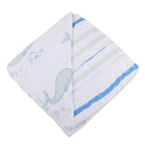 Whale and Ocean Stripe Cotton Muslin Newcastle Blanket