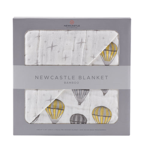 Hot Air Balloon and Northern Star Bamboo Muslin Newcastle Blanket
