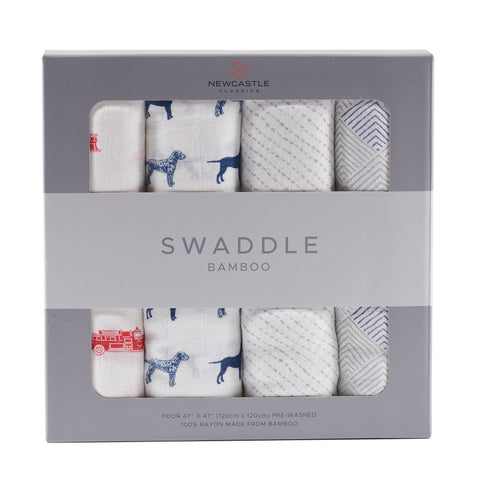Fire Truck and Dalmatian Swaddle Four Pack