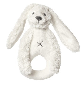 Ivory Rabbit Richie Plush Animal Rattle by Happy Horse
