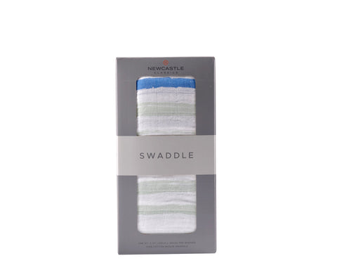 Ocean Stripe Cotton Muslin Swaddle