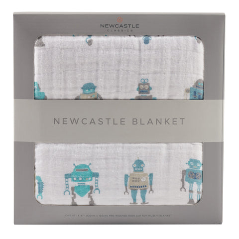 Robots Cotton Muslin Newcastle Blanket