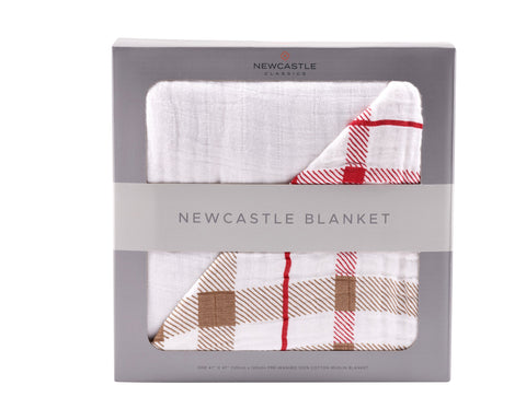 Teddy Bear and Plaid Cotton Muslin Newcastle Blanket