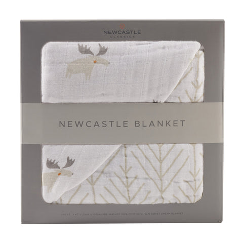 Mister Moose and Forest Arrow Cotton Muslin Newcastle Blanket