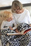 Morrocan Blue And Traveler Dot Cotton Muslin Newcastle Blanket