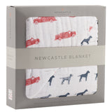 Fire Truck and Dalmatian Cotton Muslin Newcastle Blanket