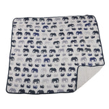Blue Elephant and Spotted Wave Cotton Muslin Newcastle Blanket