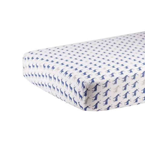 Blue Deer Cotton Muslin Crib Sheet