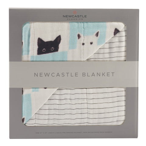 Peek-A-Boo Cats and Pencil Stripe Newcastle Blanket