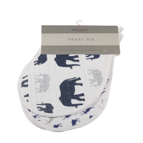 In The Wild Elephant Cotton Heart Bibs 2PK